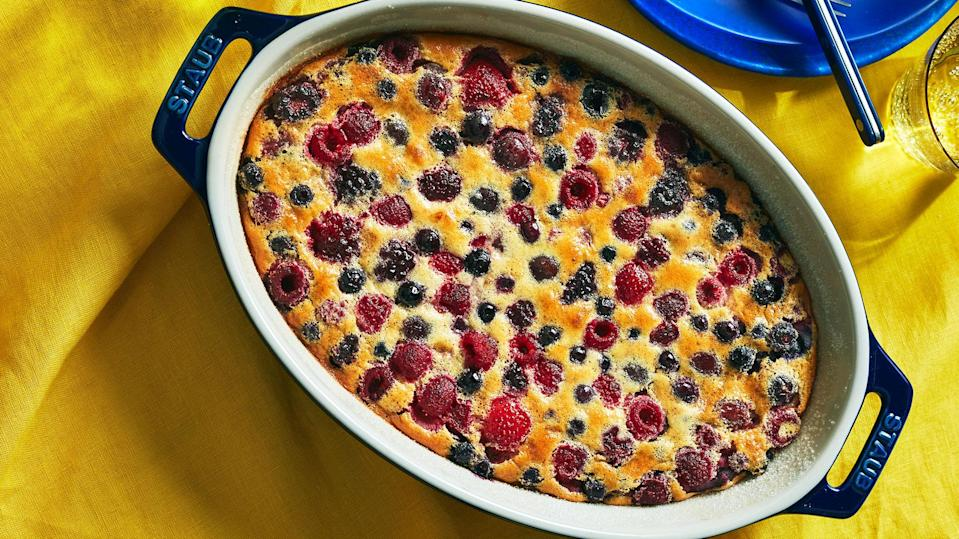 <p>This fancy French clafoutis-like custard comes together quickly in a blender, and you can sub in whatever fruit you'd like for the cherries and berries.</p>