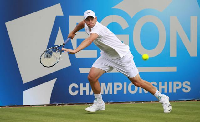 LONDON, ENGLAND - JUNE 13: Andy Roddick of the USA eyes the ball during his mens singles second round match against Edouard Roger-Vasselin of France on day three of the AEGON Championships at Queens Club on June 13, 2012 in London, England. (Photo by Clive Brunskill/Getty Images)