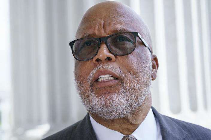 FILE - In this July 1, 2021, file photo Rep. Bennie Thompson, chairman of the House Homeland Security Committee, departs the Capitol after Speaker of the House Nancy Pelosi, D-Calif., appointed him to lead the new select committee to investigate the violent Jan. 6 insurrection at the Capitol, in Washington. (AP Photo/J. Scott Applewhite, File)