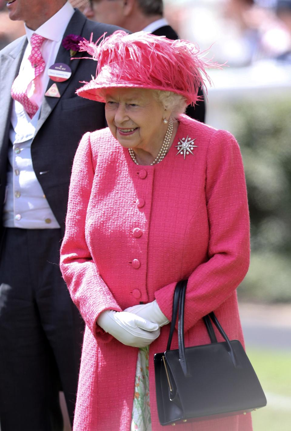 ASCOT, ENGLAND - JUNE 21:  Queen Elizabeth II arrives on day four of Royal Ascot at Ascot Racecourse on June 21, 2019 in Ascot, England. (Photo by Chris Jackson/Getty Images)