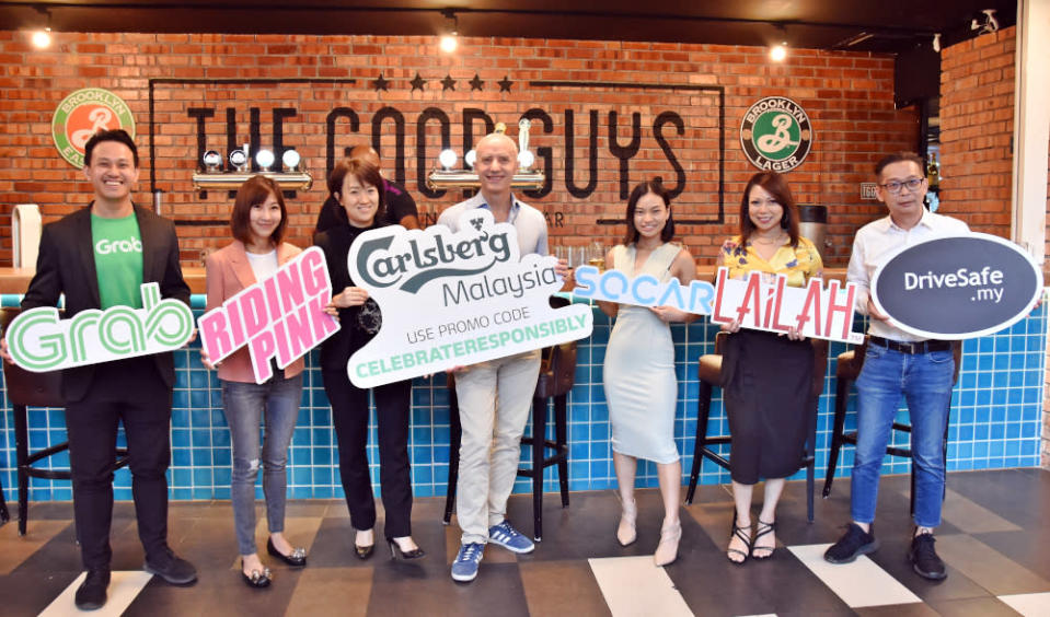 Carlsberg Malaysia's corporate affairs director Pearl Lai (3rd left) with representatives from their partner companies at the launch of #CelebrateResponsibly campaign. — Picture courtesy of Carlsberg Malaysia