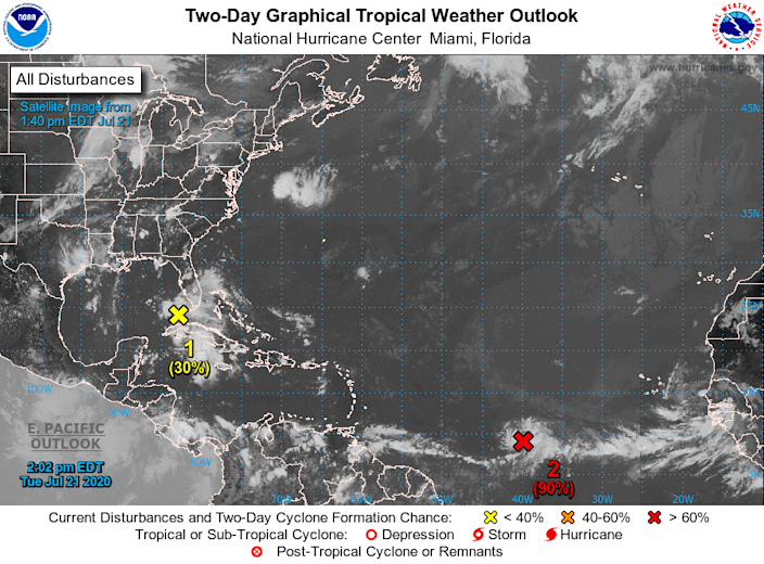 Forecasters Tuesday were monitoring two separate systems for potential development into tropical depressions, one in the Gulf of Mexico (1) and one in the open waters of the Atlantic Ocean, which is dubbed Tropical Depression Seven (2).