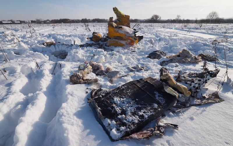 Wreckage at the crash site of a Saratov Airlines Antonov An-148 - TASS