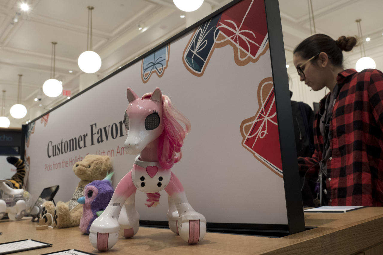 Zoomed Show Pony is one of the selected toys on sale at an Amazon Books store, Monday, Nov. 20, 2017, in New York. Amazon goes into the holiday season with a newly magnified brick-and-mortar presence, giving it more opportunities to sell its Kindle e-readers, Fire tablets and other gadgets. The online retailer now has more than a dozen Amazon Books stores, which also sell toys, electronics and small gifts. (AP Photo/Mark Lennihan)