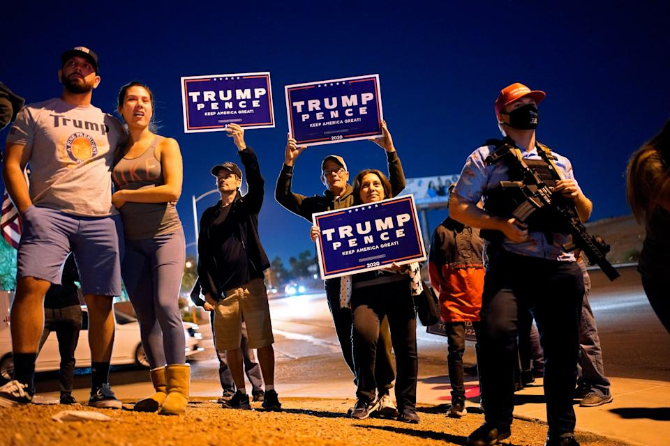 Supporters of President Donald Trump protest the Nevada vote in front of the Clark County Election Department on Nov. 4, 2020, in Las Vegas.
