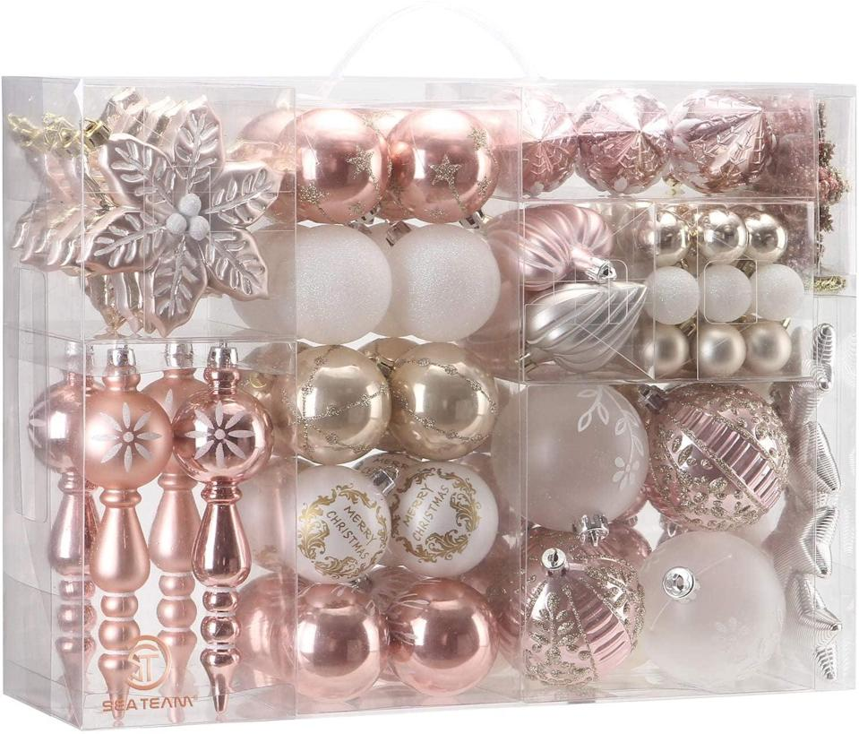 <p>This <span>Sea Team 108-Pack Assorted Shatterproof Christmas Ball Ornaments Set</span> ($50) has everything you need to get started decorating. Plus, shatterproof ornaments are great for households with small children or pets!</p>