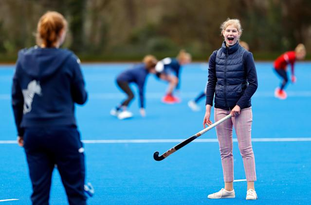 Lady Louise Windsor plays hockey as she attends an England Hockey team training session in a rare public appearance (Getty)