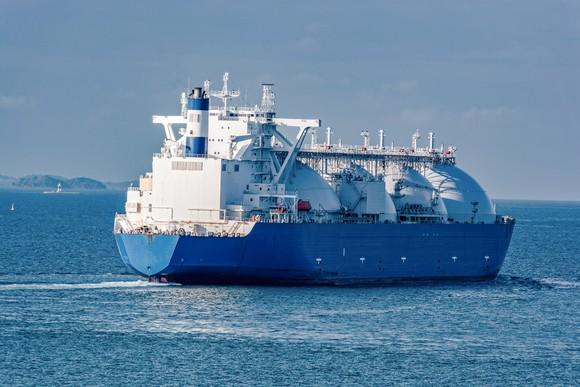 A liquified natural gas tanker in the water