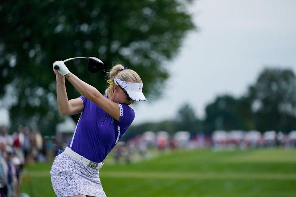 Madelene Sagstrom drives on the 11th tee during a fourball match on day one of Solheim Cup (Carlos Osorio/AP) (AP)