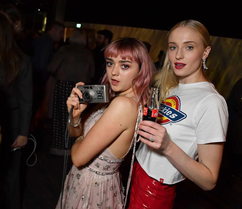 "Maisie Williams and Sophie Turner at the ""Game of Thrones"" season finale premiere in Belfast in April. (Photo: Jeff Kravitz via Getty Images)"