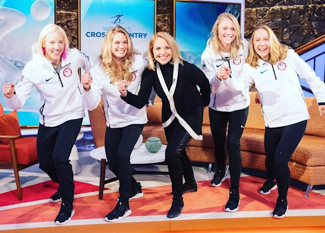 <p>Kikkan Randall USA, XC ski: Such a pleasure to meet @katiecouric today and share our cross country story! #skierpose (Photo via Instagram/kikkanimal) </p>