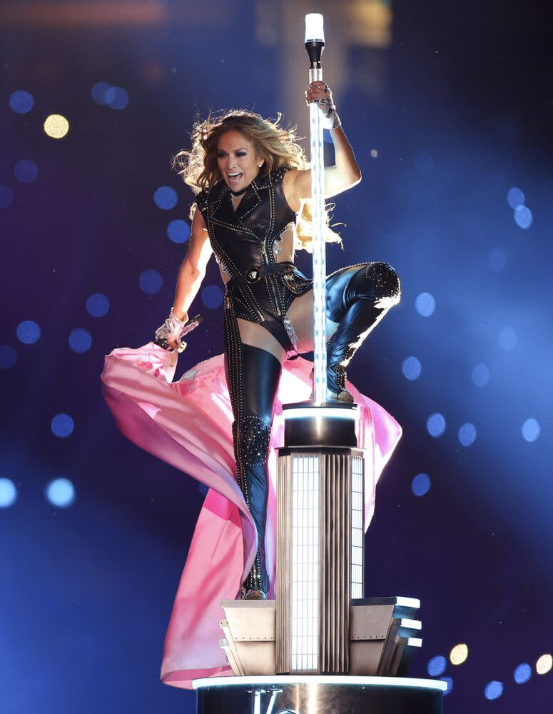 Jennifer Lopez performing at the 2020 Super Bowl halftime show | Maddie Meyer/Getty