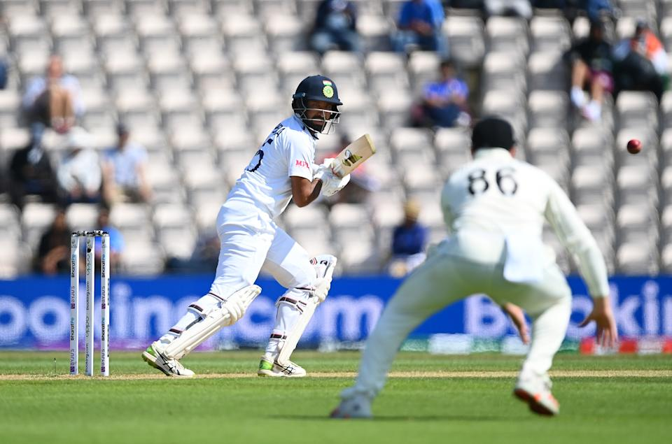 SOUTHAMPTON, ENGLAND - JUNE 23: Cheteshwar Pujara of India bats during the Reserve Day of the ICC World Test Championship Final between India and New Zealand at The Hampshire Bowl on June 23, 2021 in Southampton, England. (Photo by Alex Davidson/Getty Images)