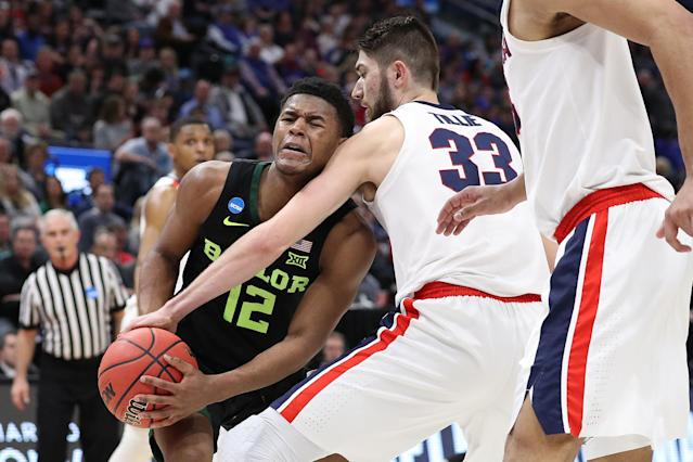 <p>Jared Butler #12 of the Baylor Bears drives with the ball against Killian Tillie #33 of the Gonzaga Bulldogs during their game in the Second Round of the NCAA Basketball Tournament at Vivint Smart Home Arena on March 23, 2019 in Salt Lake City, Utah. (Photo by Patrick Smith/Getty Images) </p>