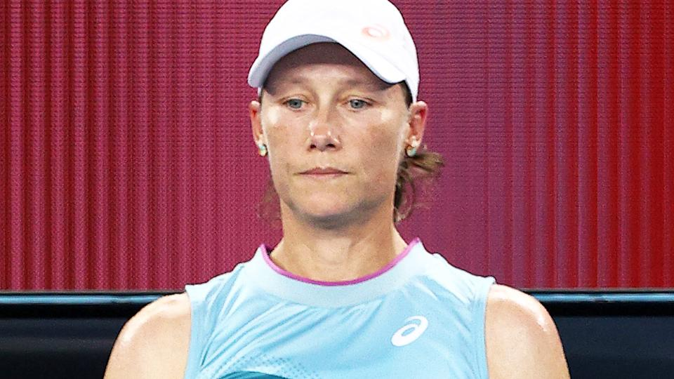Sam Stosur, pictured here during her match against Jessica Pegula at the Australian Open.