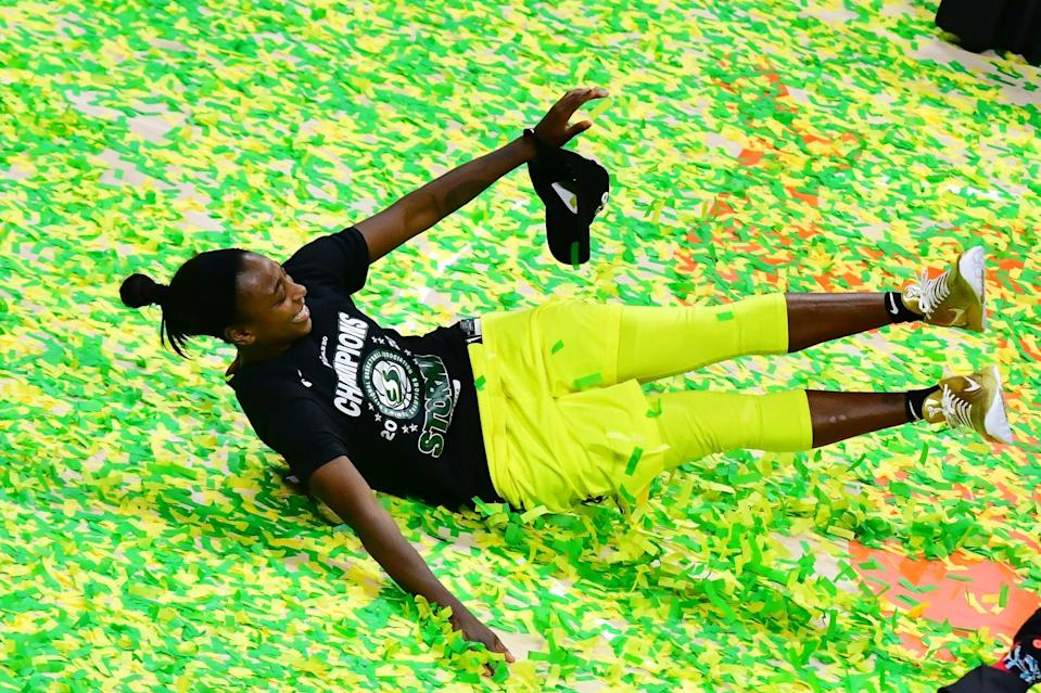 """<p>Loyd, a two-time WNBA champion, also <a href=""""http://www.usab.com/news-events/news/2020/02/jewell-loyd-feature.aspx"""" class=""""link rapid-noclick-resp"""" rel=""""nofollow noopener"""" target=""""_blank"""" data-ylk=""""slk:plays professionally overseas during the offseason"""">plays professionally overseas during the offseason</a>. She is known as the """"<a href=""""http://www.si.com/wnba/2020/11/06/jewell-loyd-seattle-storm-wnba-title-kobe-bryant"""" class=""""link rapid-noclick-resp"""" rel=""""nofollow noopener"""" target=""""_blank"""" data-ylk=""""slk:The Gold Mamba"""">The Gold Mamba</a>,"""" which was a nickname <a href=""""https://www.popsugar.com/celebrity/vanessa-bryant-instagram-tribute-to-kobe-may-2021-48324077"""" class=""""link rapid-noclick-resp"""" rel=""""nofollow noopener"""" target=""""_blank"""" data-ylk=""""slk:Kobe Bryant"""">Kobe Bryant</a> gave her when she turned pro, according to <strong>Sports Illustrated</strong>. This will be Loyd's first Olympic Games. <a href=""""http://www.usab.com/basketball/players/womens/l/loyd-jewell.aspx"""" class=""""link rapid-noclick-resp"""" rel=""""nofollow noopener"""" target=""""_blank"""" data-ylk=""""slk:Check out her USA Basketball profile here"""">Check out her USA Basketball profile here</a>.</p> <p><strong>Age:</strong> 27</p> <p><strong>Current WNBA Team:</strong> Seattle Storm</p> <p><strong>Position:</strong> Guard</p> <p><strong>Instagram:</strong> <a href=""""https://www.instagram.com/jewellloyd/"""" class=""""link rapid-noclick-resp"""" rel=""""nofollow noopener"""" target=""""_blank"""" data-ylk=""""slk:@jewellloyd"""">@jewellloyd</a></p>"""