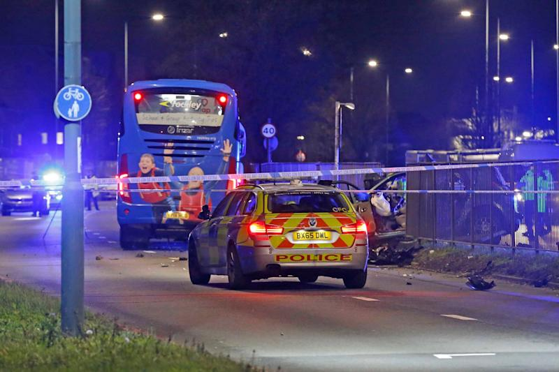 Police at the scene of the A40 crash in west London (Nigel Howard)
