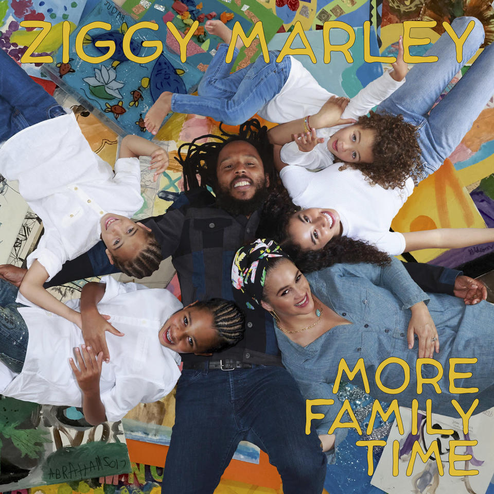 """This image released by Tuff Gong Worldwide shows """"More Family Time"""" by Ziggy Marley. Sheryl Crow, Busta Rhymes, Alanis Morissette and Jamie Lee Curtis are some of the eclectic guests on Ziggy Marley's new album coming out Friday. (Tuff Gong Worldwide via AP)"""
