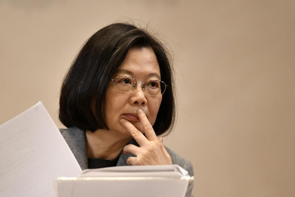 Taiwan's President Tsai Ing-wen listens during a press conference at the Presidential Palace in Taipei on January 5, 2019. (Photo by Sam YEH / AFP)        (Photo credit should read SAM YEH/AFP/Getty Images)