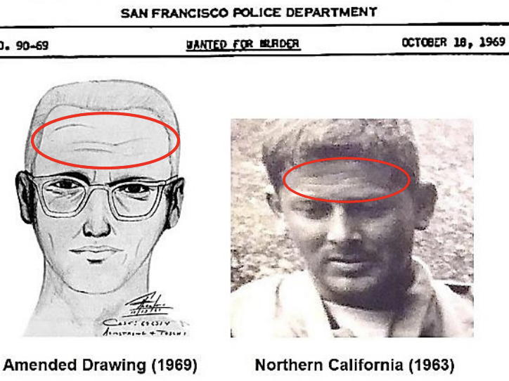 The image of Gary Francis Poste with scars on his forehead next to a victim's sketch of the Zodiac.