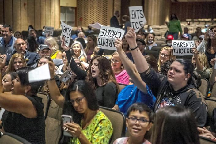 """<div class=""""inline-image__caption""""><p>People protest the North Allegheny School District's mask mandate.</p></div> <div class=""""inline-image__credit"""">Alexandra Wimley/AP</div>"""