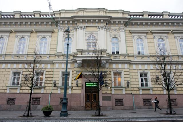 Lithuania's central bank, also known as the Lietuvos Bankas, in Vilnius. Photo: Peter Kollanyi/Bloomberg via Getty Images