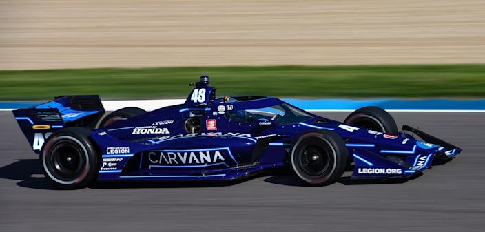 <em>Jimmie Johnson finished a lap down Saturday, his best result in that category so far in IndyCar (James Black/IndyCar).</em>