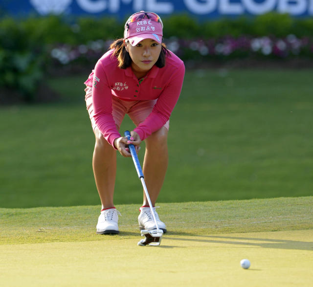 Hee Young Park of South Korea lines up a putt at the 18th hole in the second round of the Airbus LPGA Classic golf tournament at Magnolia Grove on Friday, May 23, 2014, in Mobile, Ala. (AP Photo/G.M. Andrews)