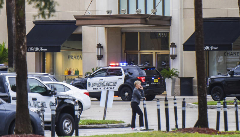 Authorities respond to Town Center at Boca Raton, Sunday, Oct. 13, 2019, in Boca Raton, Fla., as the mall had been placed on lockdown following reports of shots fired. (Andres Leiva/Palm Beach Post via AP)