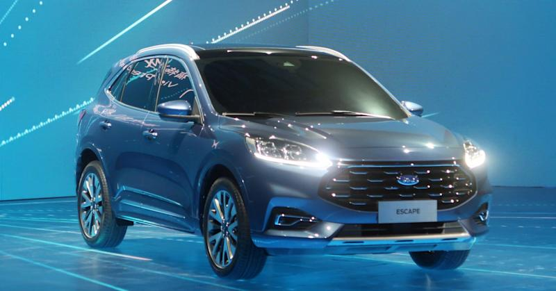 A Ford Escape car is seen on the stage at a product launching event in Shanghai, China April 3, 2019.