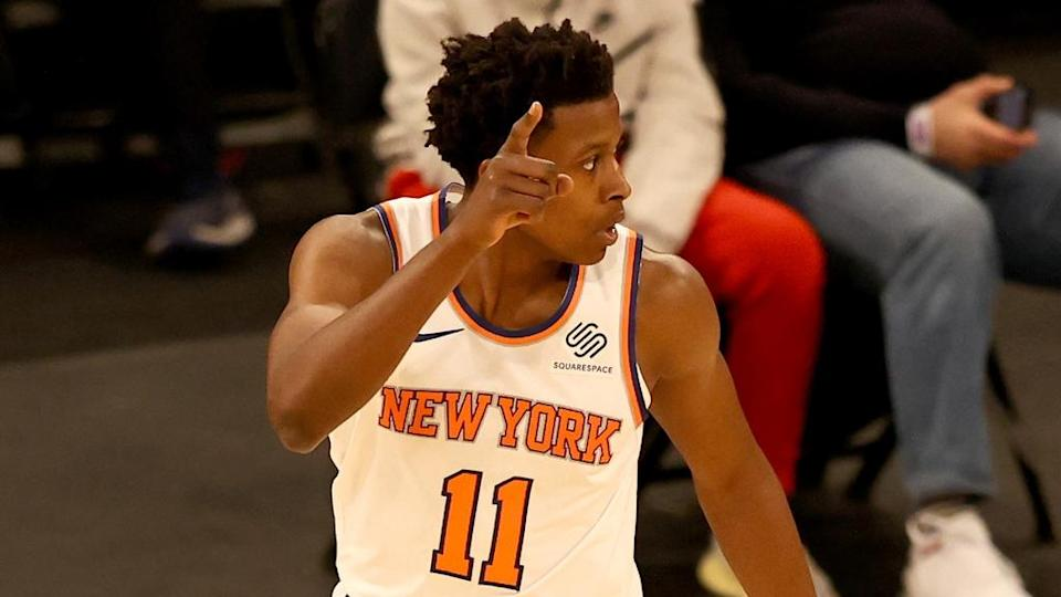 Feb 27, 2021; New York, New York, USA; Frank Ntilikina #11 of the New York Knicks celebrates his three point shot in the second quarter against the Indiana Pacers at Madison Square Garden. Mandatory Credit: POOL PHOTOS-USA TODAY Sports