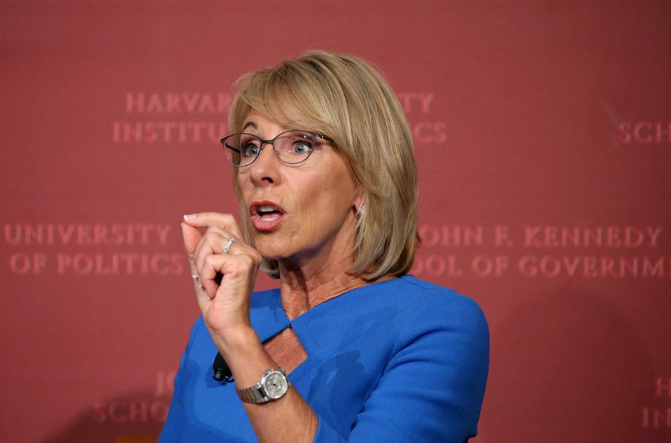 U.S. Education Secretary Betsy DeVos speaks at Harvard University's Kennedy School of Government in Cambridge, Massachusetts, U.S., September 28, 2017.     REUTERS/Mary Schwalm
