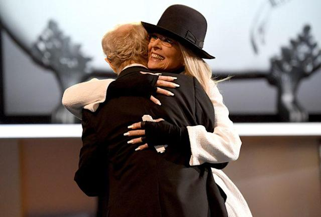 Woody Allen and Diane Keaton hug at the AFI event. (Photo: Michael Kovac/Getty Images for AFI)