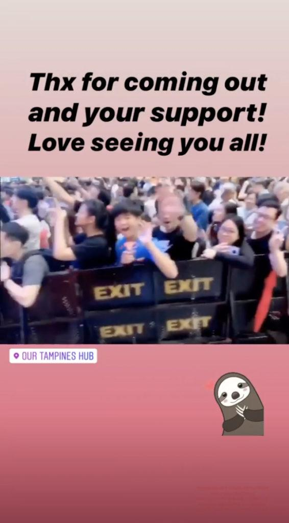 Donnie Yen thanks Singapore fans on Instagram stories.