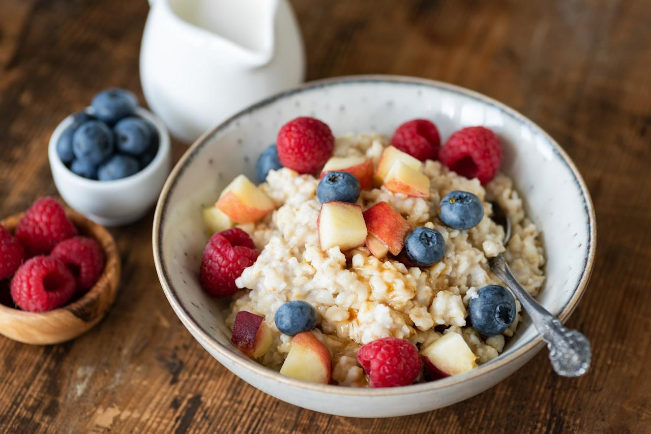"<p>""Oatmeal with blueberries is a top choice for late-night snacking,"" Jenn said. Oats are a healthy source of carbs, and ""blueberries pack antioxidant power that can squash stress in your cells,"" she explained. Plus, a warm bowl of oatmeal is cozy and comforting when the night goes long.</p>"