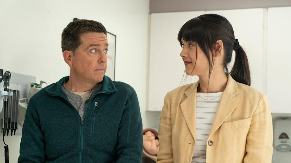 "Ed Helms and Patti Harrison star in ""Together Together."""