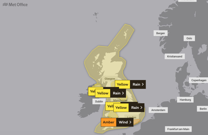 Severe weather warnings are in place across the UK this weekend - including an amber warning for wind (Picture: Met Office)