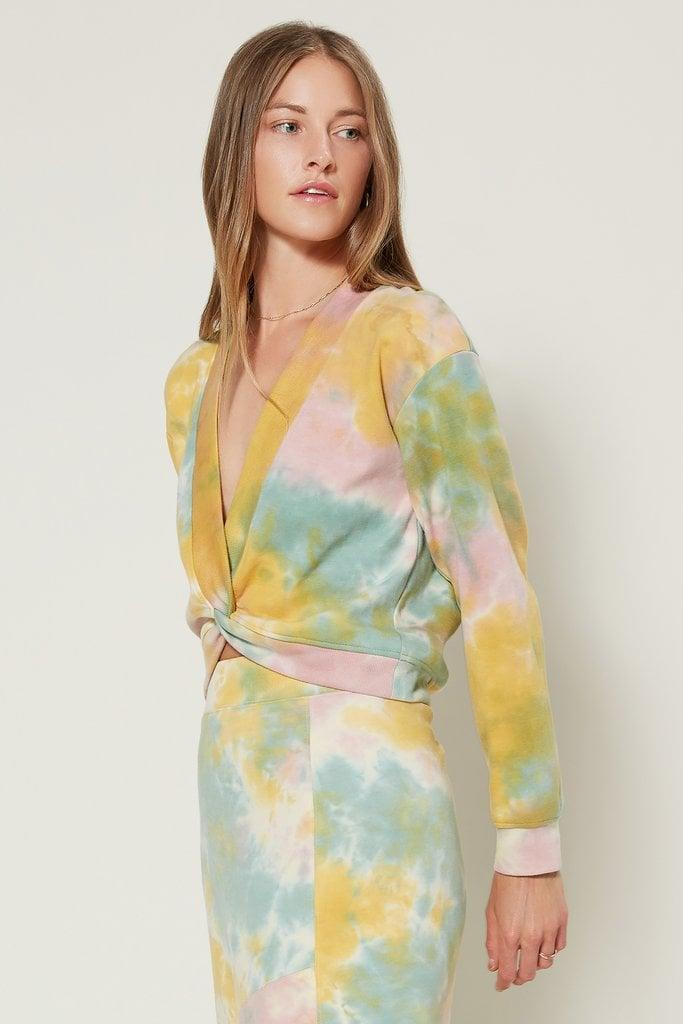 "<p>""Current Air's <span>Twist Front Tie Dye Sweatshirt</span> ($68) and matching <span>Tie Dye Knit Midi Skirt</span> ($78) are your answer to elevated sweats. I'm still not over tie-dye and the relaxed playfulness it brings to my look.""</p>"
