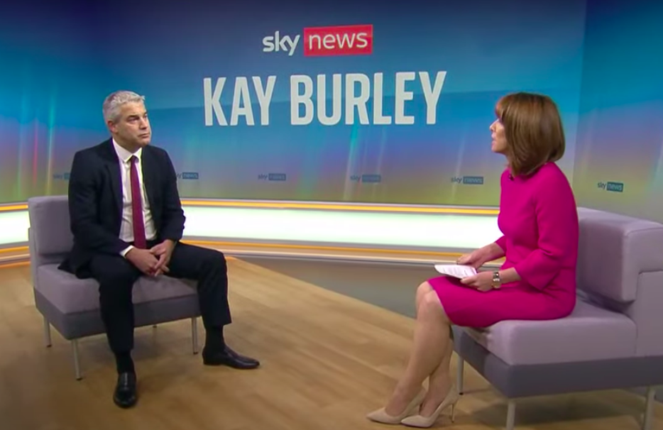 Cabinet Office minister Stephen Barclay, left, was asked to apologise 11 times by Sky News presenter Kay Burley. (Sky News)