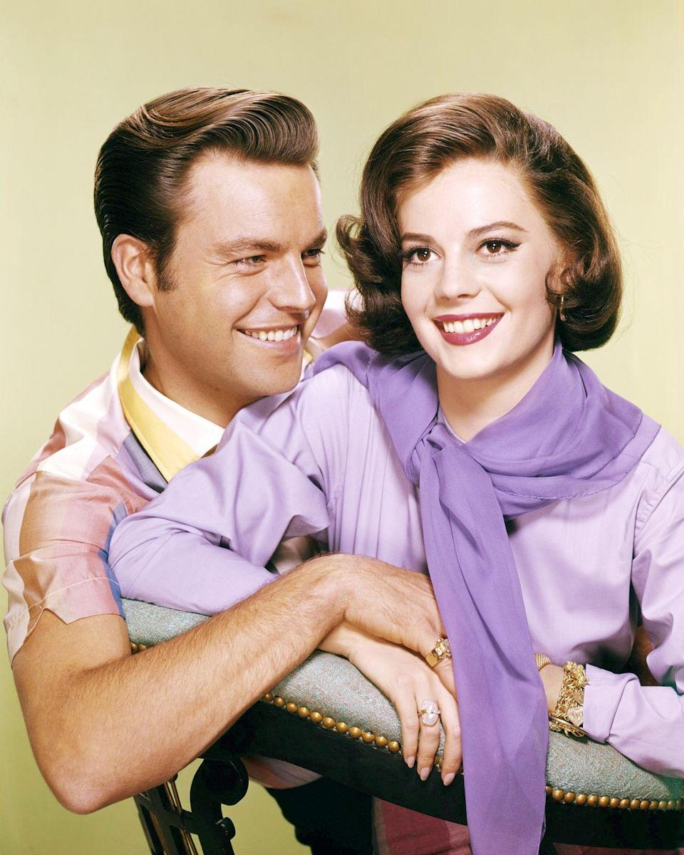 """<p>In 1956, Natalie Wood and Robert Wagner were set up by their Hollywood studio <a href=""""https://www.biography.com/news/natalie-wood-robert-wagner-relationship#:~:text=Subscribe%20to%20Newsletter-,Inside%20Natalie%20Wood%20and%20Robert%20Wagner's%20Tumultuous%20Relationship,romance%20until%20her%20mysterious%20death.&text=Their%20romance%20and%20subsequent%20marriages,the%20course%20of%20two%20decades."""" rel=""""nofollow noopener"""" target=""""_blank"""" data-ylk=""""slk:as a publicity stunt"""" class=""""link rapid-noclick-resp"""">as a publicity stunt</a>, but a year later they were married. They were one of Hollywood's favorite couples, but got divorced in 1962. They both married other people and moved on, only to reunite and <a href=""""https://people.com/archive/cover-story-second-times-the-charm-vol-6-no-24/"""" rel=""""nofollow noopener"""" target=""""_blank"""" data-ylk=""""slk:tie the knot again"""" class=""""link rapid-noclick-resp"""">tie the knot again</a> in 1972. They were married until Natalie's <a href=""""https://www.townandcountrymag.com/society/tradition/a25242203/natalie-wood-death/"""" rel=""""nofollow noopener"""" target=""""_blank"""" data-ylk=""""slk:tragic death"""" class=""""link rapid-noclick-resp"""">tragic death</a> in 1981. </p>"""