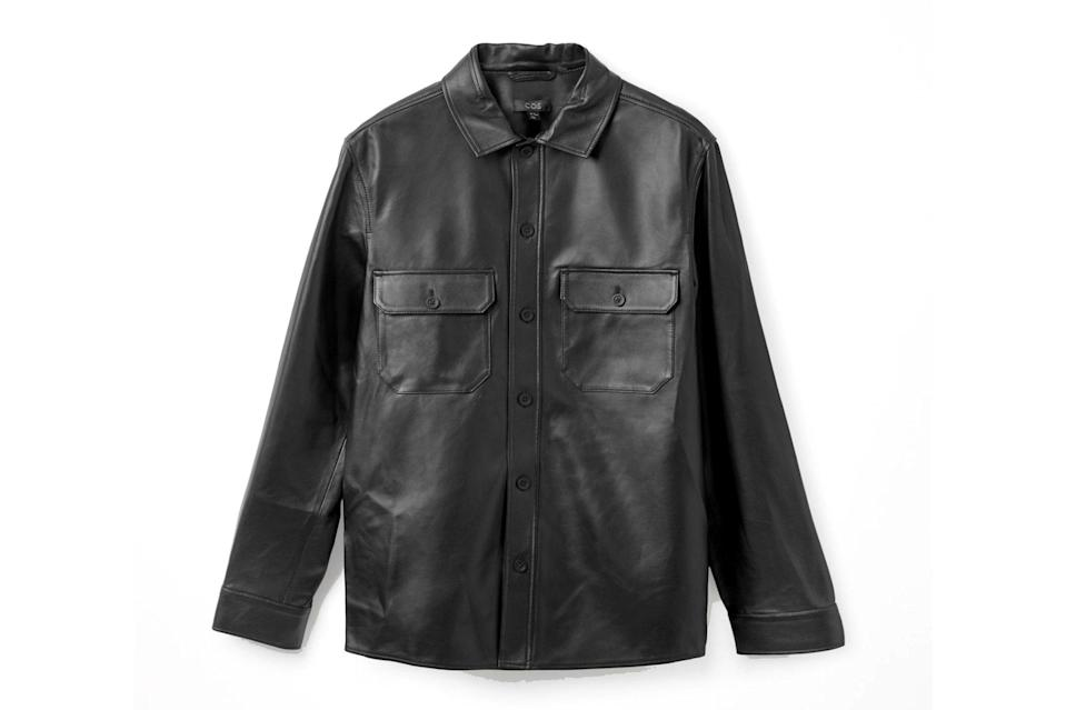 """Used to be, the only leather jackets that mattered were Brando-style bikers and Top Gun-esque bombers. Lately, though, we've been digging this straight-cut, button-front style from the '90s—especially when its done as pristine and minimalist as this COS take.<br> <br> <em>COS lamb leather overshirt</em> $390, COS. <a href=""""https://www.cosstores.com/en_usd/men/menswear/shirts/product.lamb-leather-overshirt-black.0952466001.html"""" rel=""""nofollow noopener"""" target=""""_blank"""" data-ylk=""""slk:Get it now!"""" class=""""link rapid-noclick-resp"""">Get it now!</a>"""