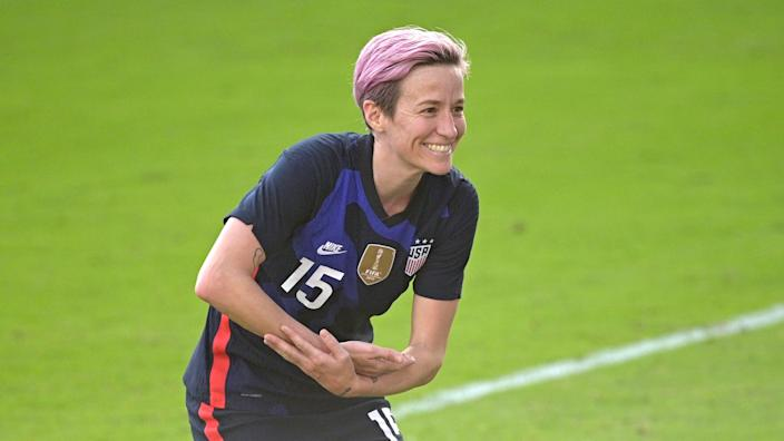 Megan Rapinoe celebrates her goal against Brazil.