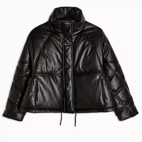 Topshop Faux Leather Padded Puffer Jacket - Credit: Topshop