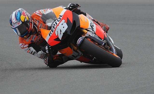 Moto GP rider Dani Pedrosa of Spain rides his Honda during the free practice session ahead of tomorrow's Czech Republic MotoGP category on August 25, 2012 in Brno. AFP PHOTO/ MICHAL CIZEKMICHAL CIZEK/AFP/GettyImages