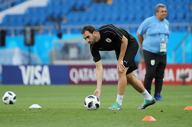 Soccer Football - World Cup - Uruguay Training - Rostov Arena, Rostov-on-Don, Russia - June 19, 2018 Uruguay's Diego Godin during training REUTERS/Marko Djurica