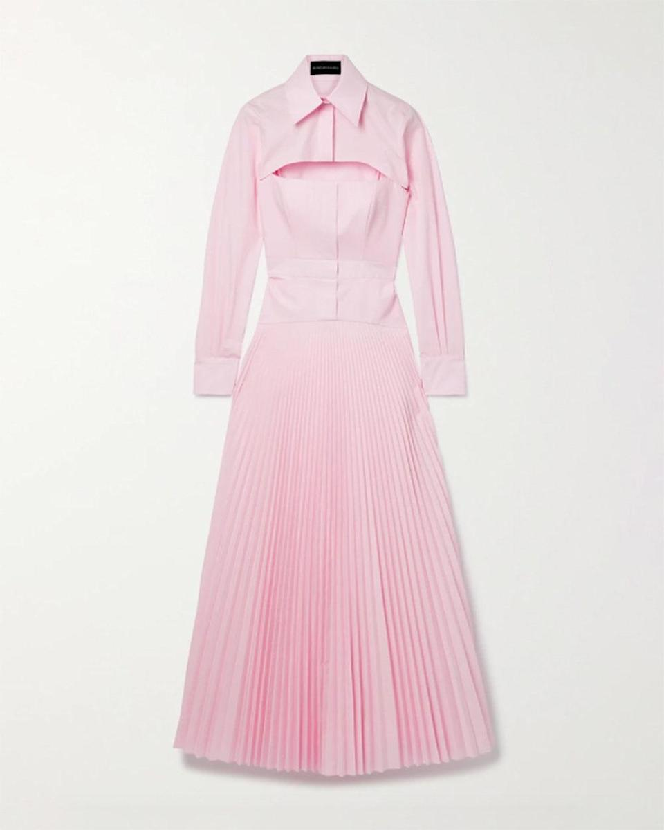 """""""I love how perfect this dress is for all of your outdoor summer functions. And as a bonus, the sleeves are removable, so essentially it's like two dresses in one!"""" - <em>Nicole Chapoteau, Fashion Director</em> $2190, Net-a-Porter. <a href=""""https://www.net-a-porter.com/en-us/shop/product/brandon-maxwell/clothing/midi-dresses/layered-pleated-cotton-blend-poplin-maxi-dress/2204324140044707"""" rel=""""nofollow noopener"""" target=""""_blank"""" data-ylk=""""slk:Get it now!"""" class=""""link rapid-noclick-resp"""">Get it now!</a>"""