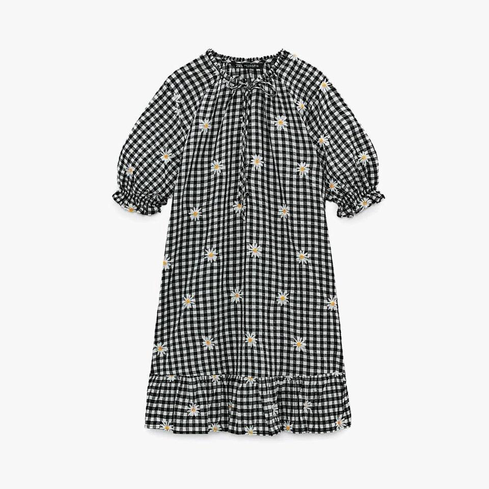 "$50, ZARA. <a href=""https://www.zara.com/us/en/embroidered-gingham-dress-p03564063.html?v1=91541565"" rel=""nofollow noopener"" target=""_blank"" data-ylk=""slk:Get it now!"" class=""link rapid-noclick-resp"">Get it now!</a>"