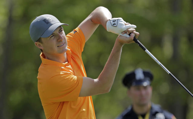 Jordan Spieth follows through on a shot off the seventh tee during the first round of the PGA Championship golf tournament, Thursday, May 16, 2019, at Bethpage Black in Farmingdale, N.Y. (AP Photo/Julio Cortez)