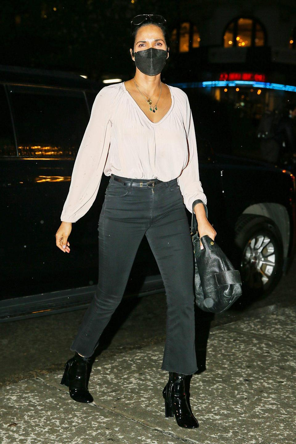 <p>Padma Lakshmi is seen returning home after a night out in N.Y.C. on Monday night.</p>