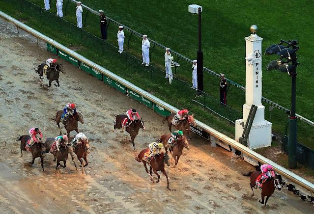 The owners of Maximum Security (7) have filed a federal lawsuit seeking the horse's reinstatement as winner of the Kentucky Derby (AFP Photo/JAMIE SQUIRE)